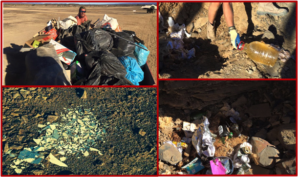 DPW clean up collage – the pics on the right are of trash found IN THE TOILET PITS! - Pics by Duncan Larkin and Craig Maxwell